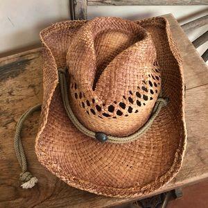 PETER GRIMM Woven Straw Western Cowboy Hat Unisex